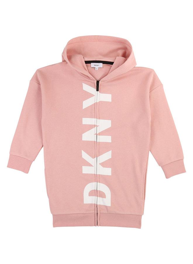 DKNY KIDS Hoodie long rosa mit Logo