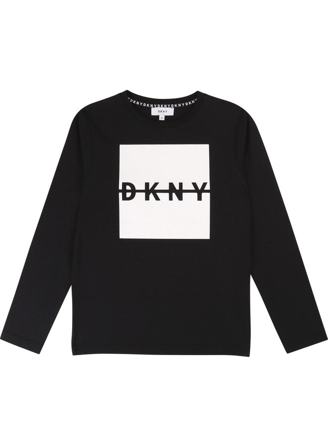 DKNY KIDS Langarmshirt schwarz Logo weiss