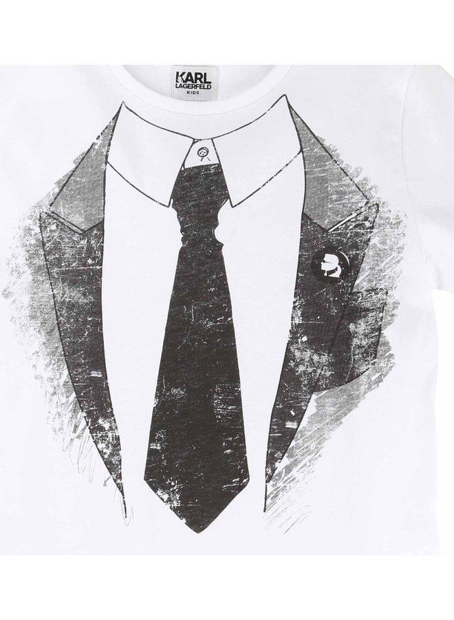 KARL LAGERFELD KIDS T-Shirt Krawatte weiß