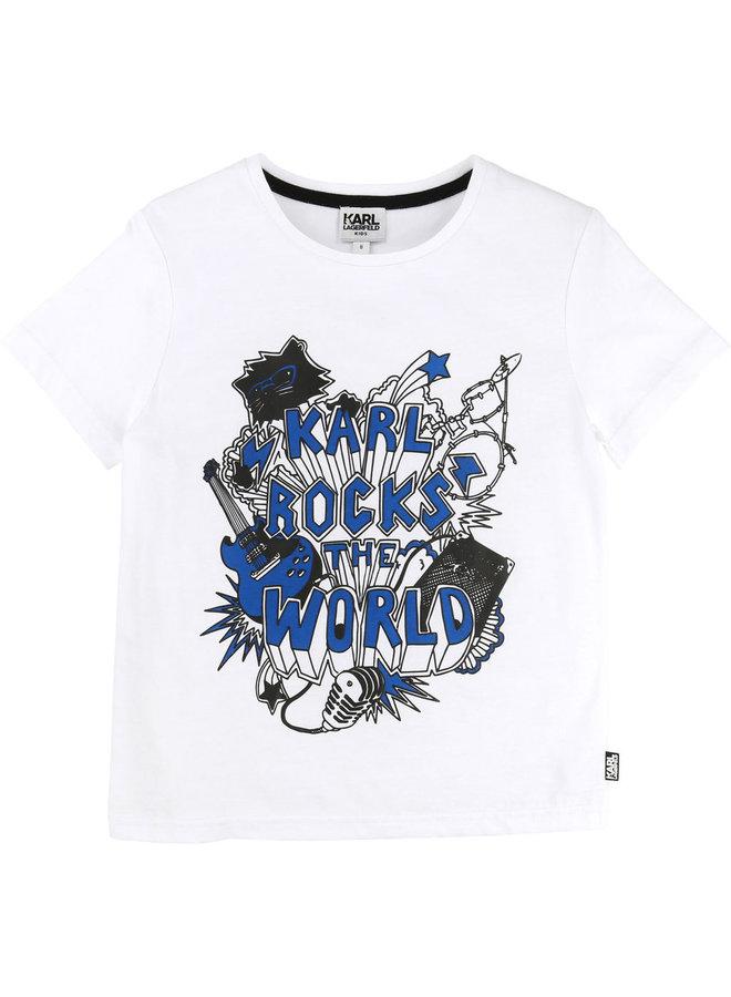 KARL LAGERFELD KIDS T-Shirt weiß blau Karl rocks