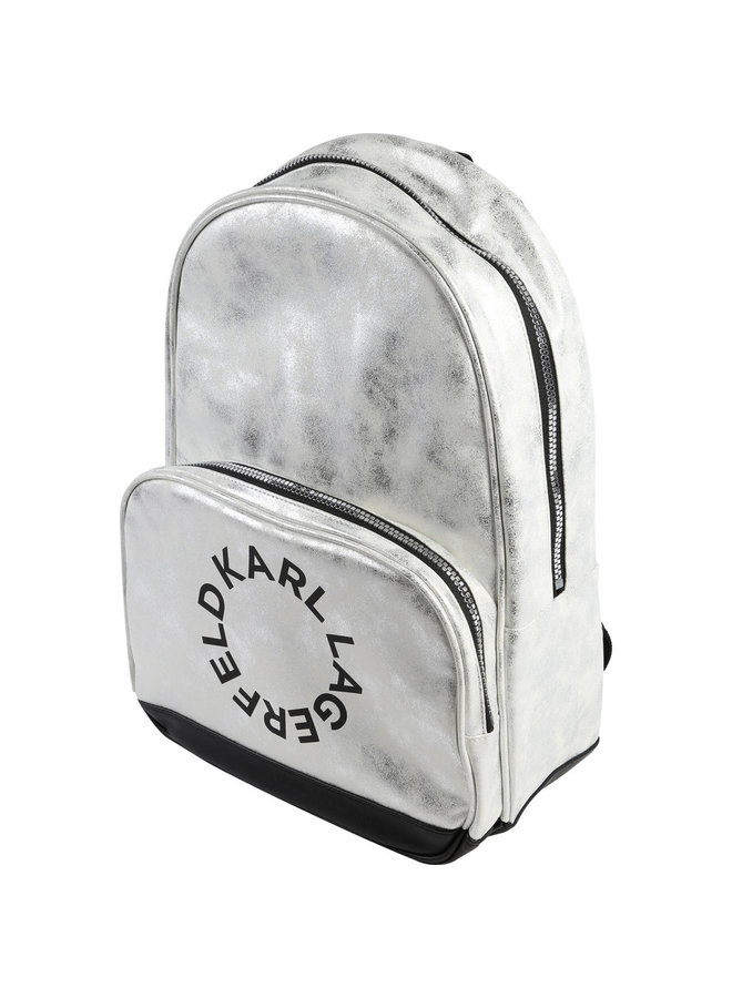 KARL LAGERFELD KIDS Rucksack silber mit Logoprint