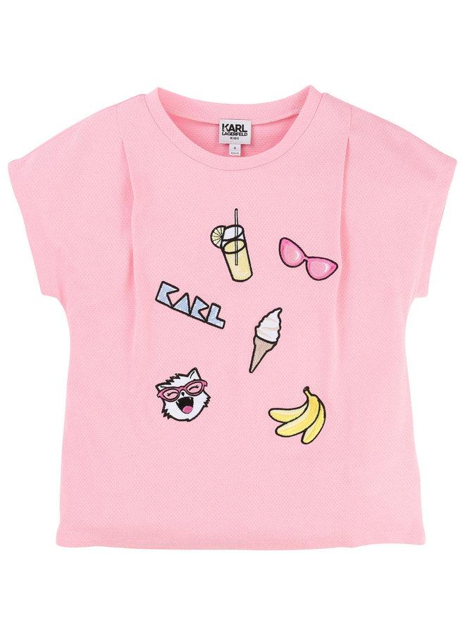 KARL LAGERFELD KIDS T-Shirt mit Patches rosa