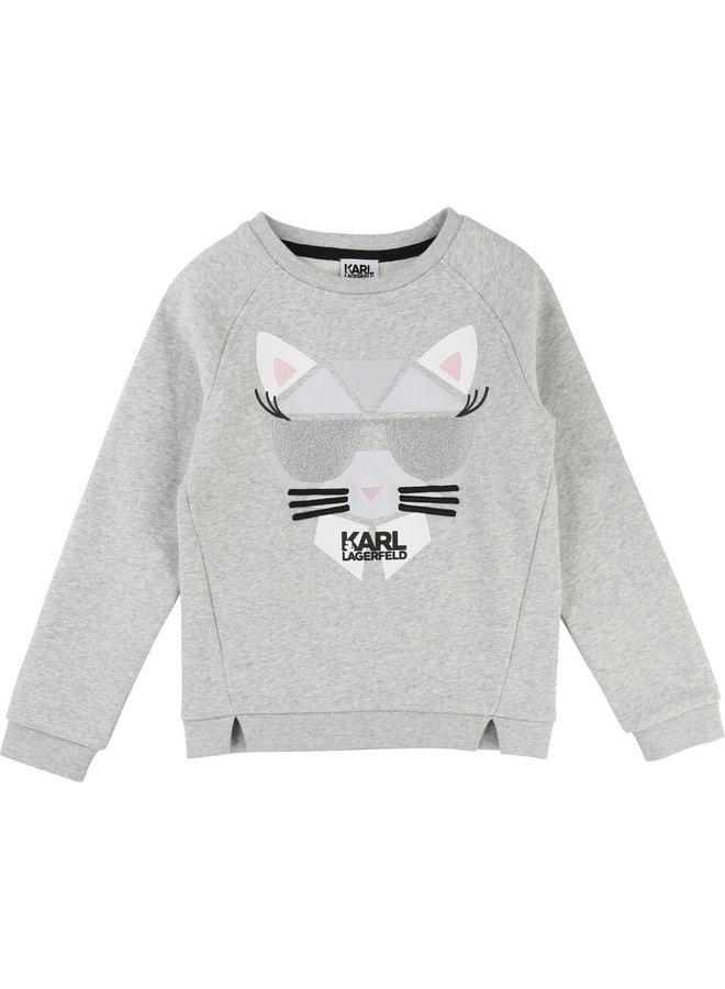 KARL LAGERFELD KIDS Mädchen Sweatshirt Katze Choupette
