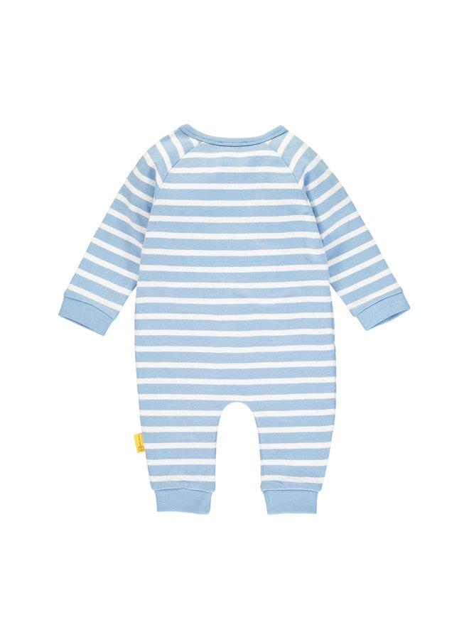Steiff Baby Strampler hellblau weiß mit Blockstreifen