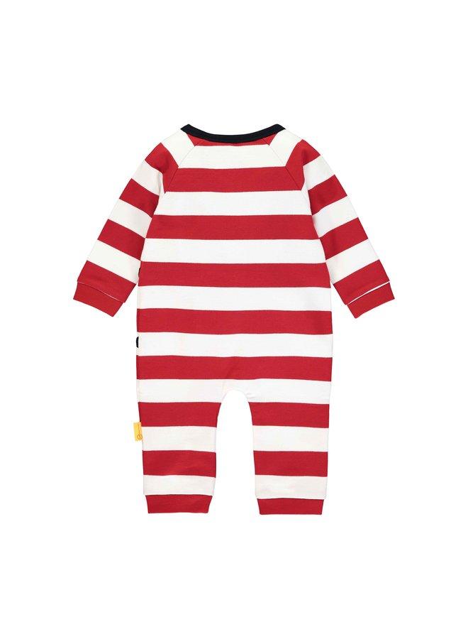 Steiff Baby Strampler rot weiß  mit Blockstreifen