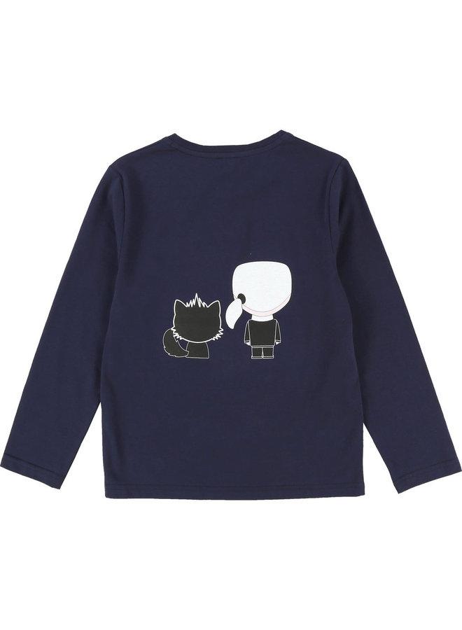 KARL LAGERFELD KIDS Longsleeve dunkelblau Ikonik Katze
