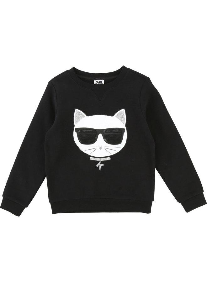 KARL LAGERFELD KIDS Sweatshirt Choupette schwarz silber