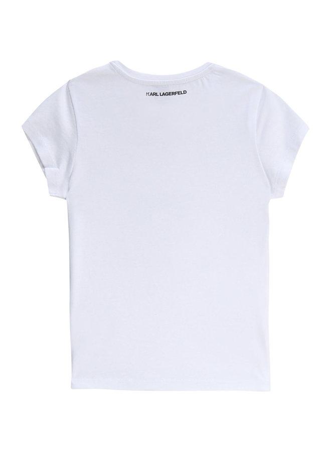 KARL LAGERFELD KIDS T-Shirt Wendepailletten weiß