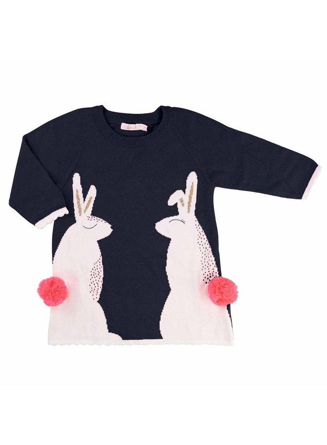 Billieblush Kleid Kaninchen Strickkleid Glitzer