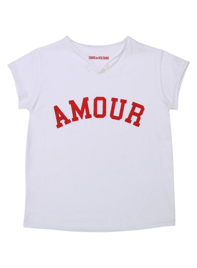Zadig & Voltaire T-Shirt AMOUR weiß rot Glitzer