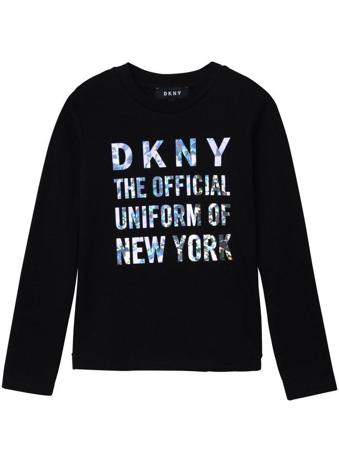 DKNY KIDS Langarmshirt schwarz mit diamond effect