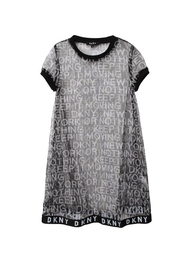 DKNY KIDS Mesh 2 in 1 Kleid schwarz mit vielen Logo Details