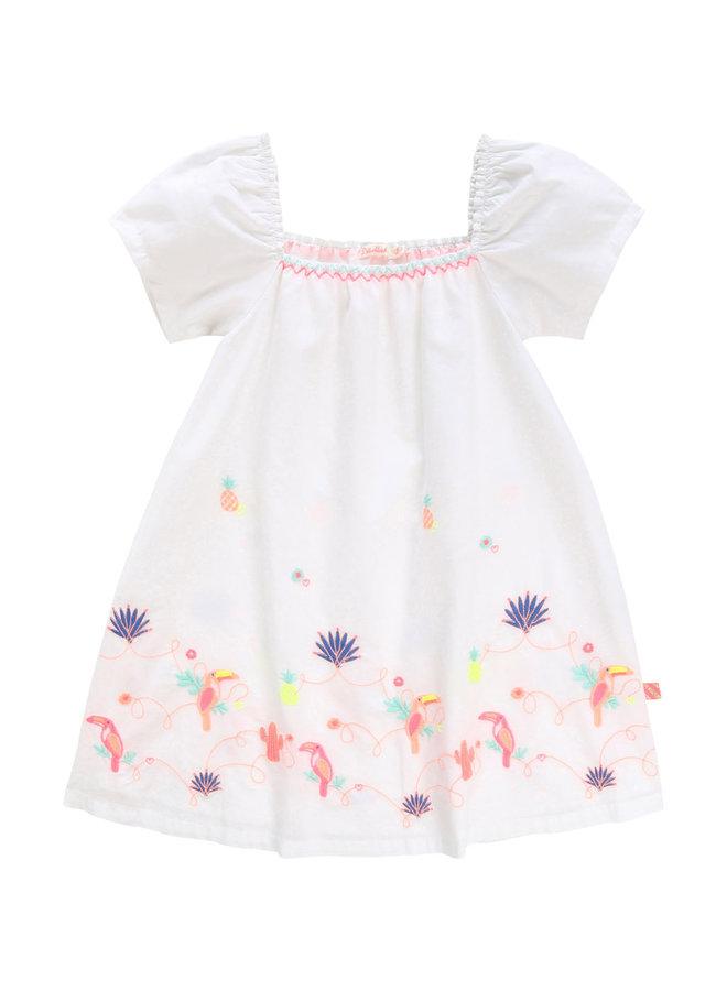 Billieblush Popeline Kleid weiß mit Stickerei