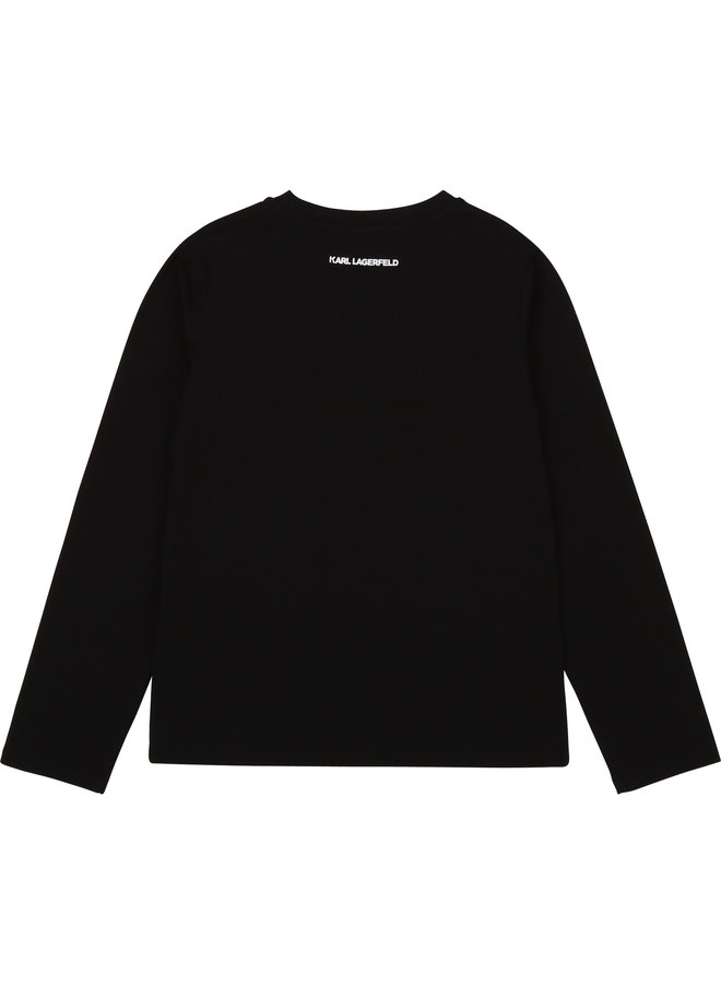 KARL LAGERFELD KIDS Langarmshirt schwarz  iconic Chaupette