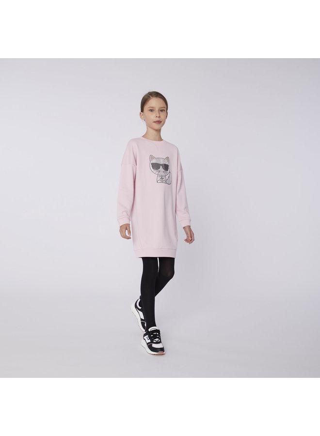 KARL LAGERFELD KIDS Sweatshirt Kleid Choupette mit Strass rosa