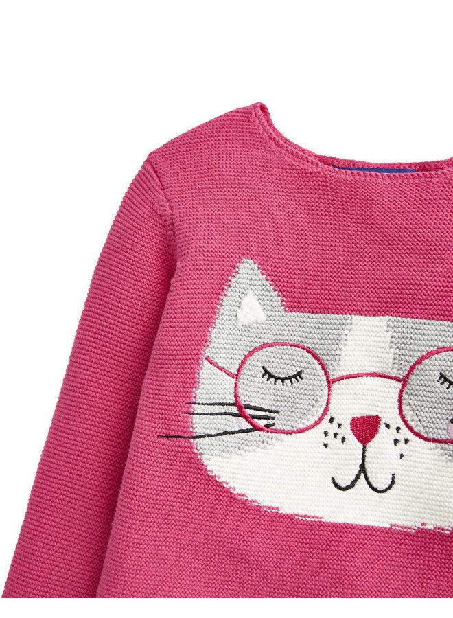 TOM JOULE Strickpullover Katze deep pink