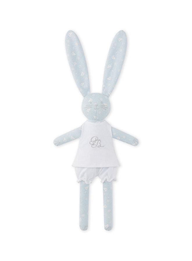 Petit Bateau Kuscheltier Hase hellblau mit Kleidung