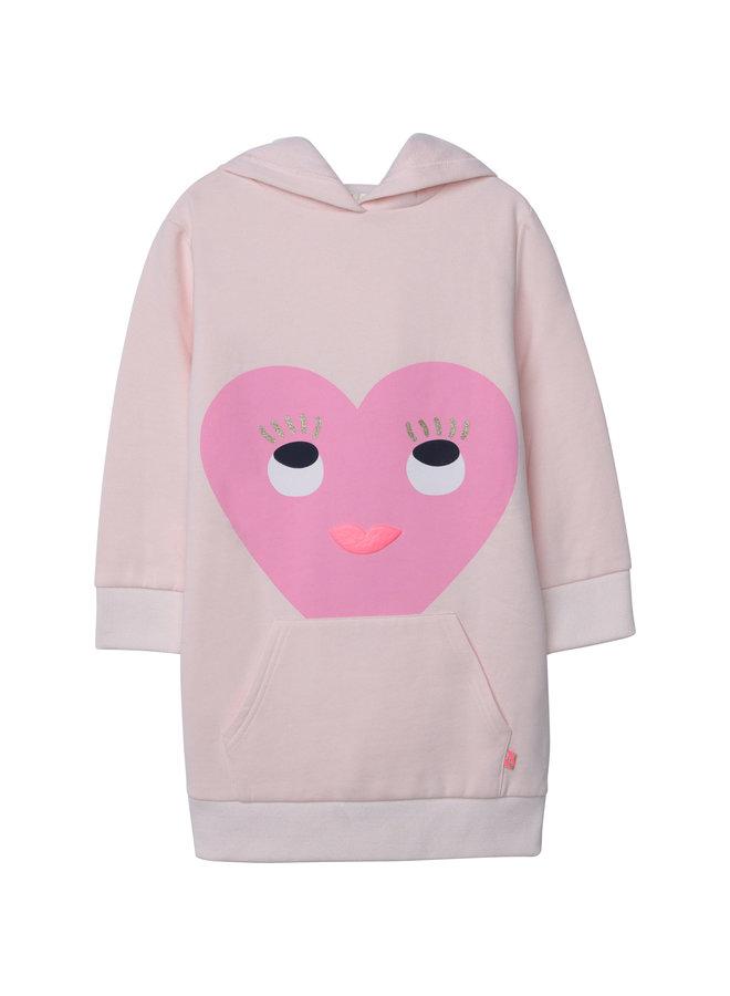 Billieblush Hoodie-Kleid Sweatshirtkleid rosa mit Herz