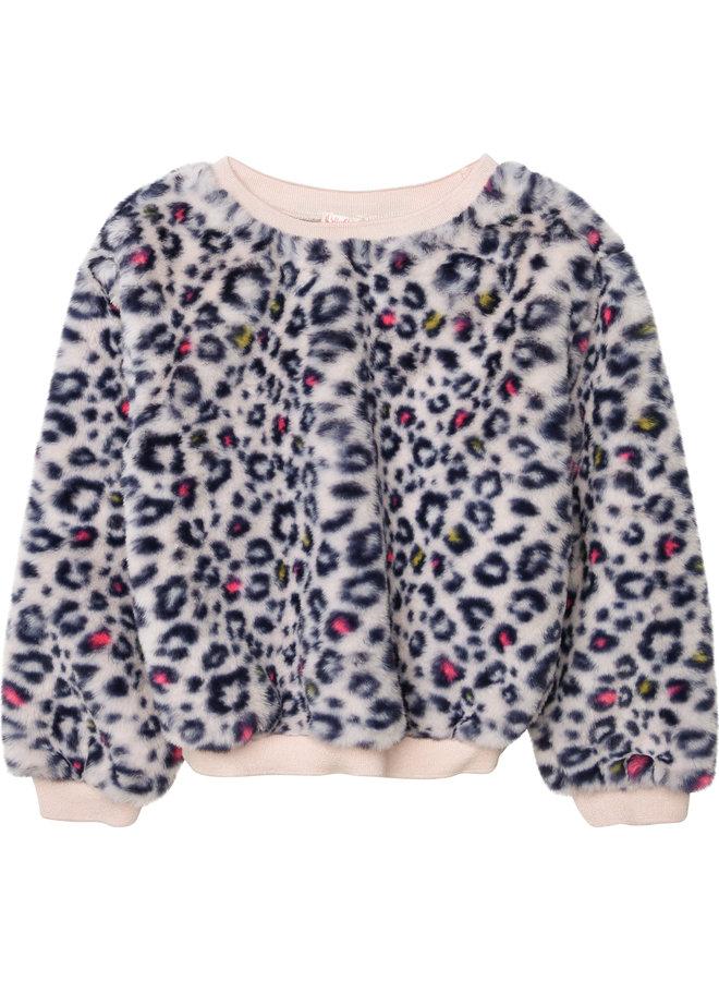 Billieblush Sweatshirt aus kuscheligem Kunstfell mit Leoprint