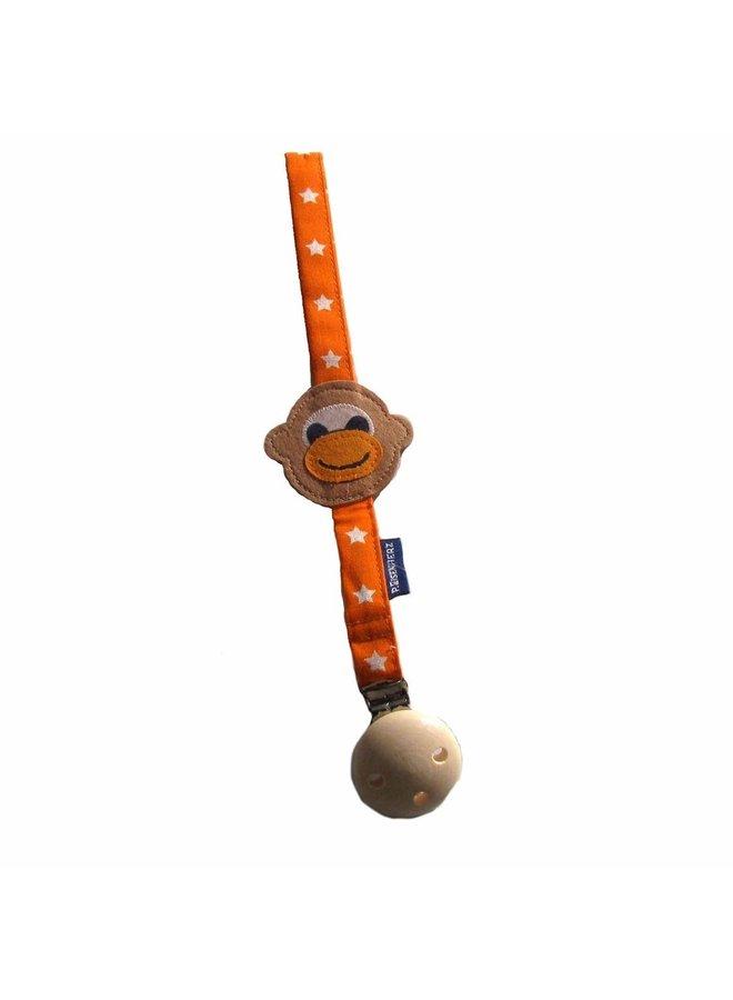 P Eisenherz Schnullerband Affe orange