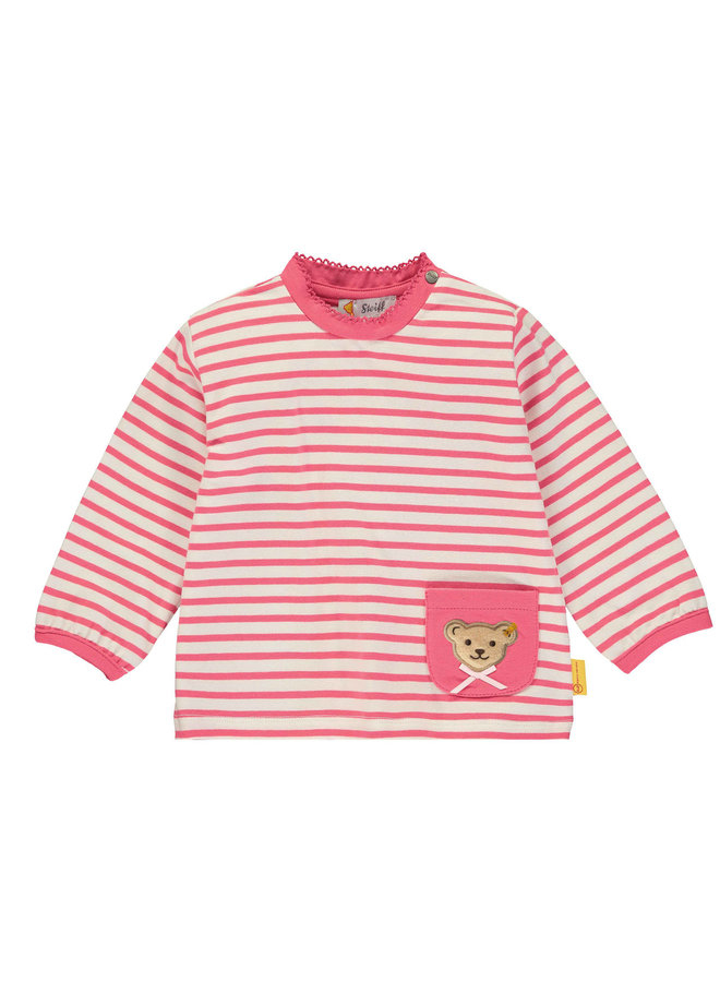 Steiff Langarmshirt rosa weiß gestreift