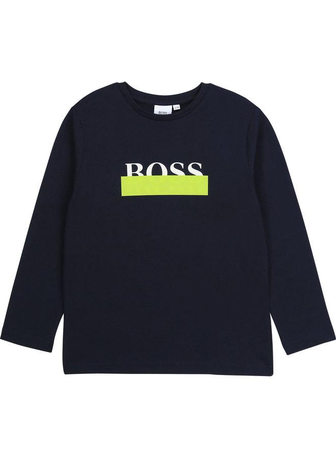 HUGO BOSS Kids Longsleeve Langarmshirt schwarz