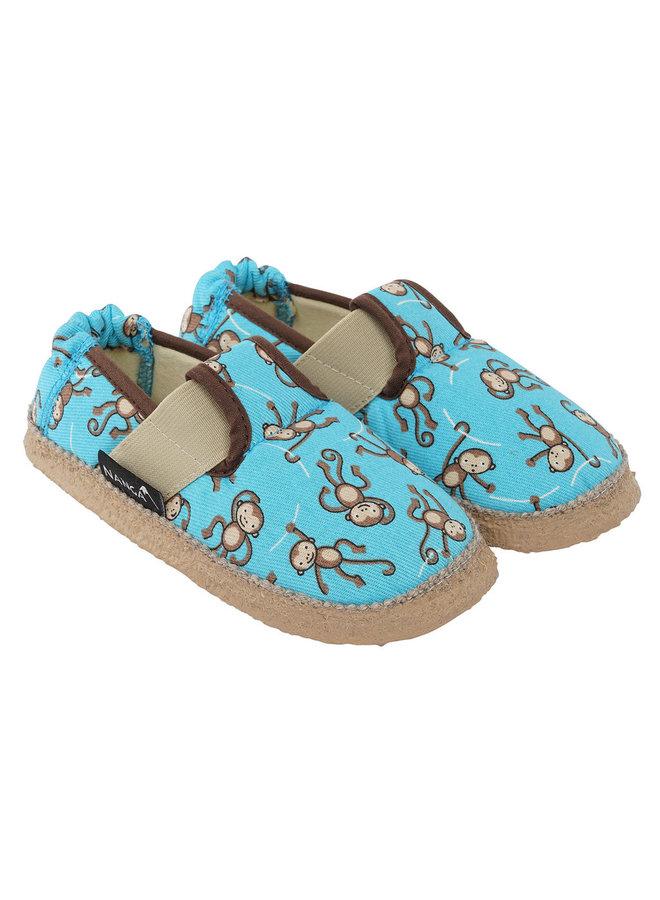 NANGA Hausschuhe Lustige Affen blau Baumwolle