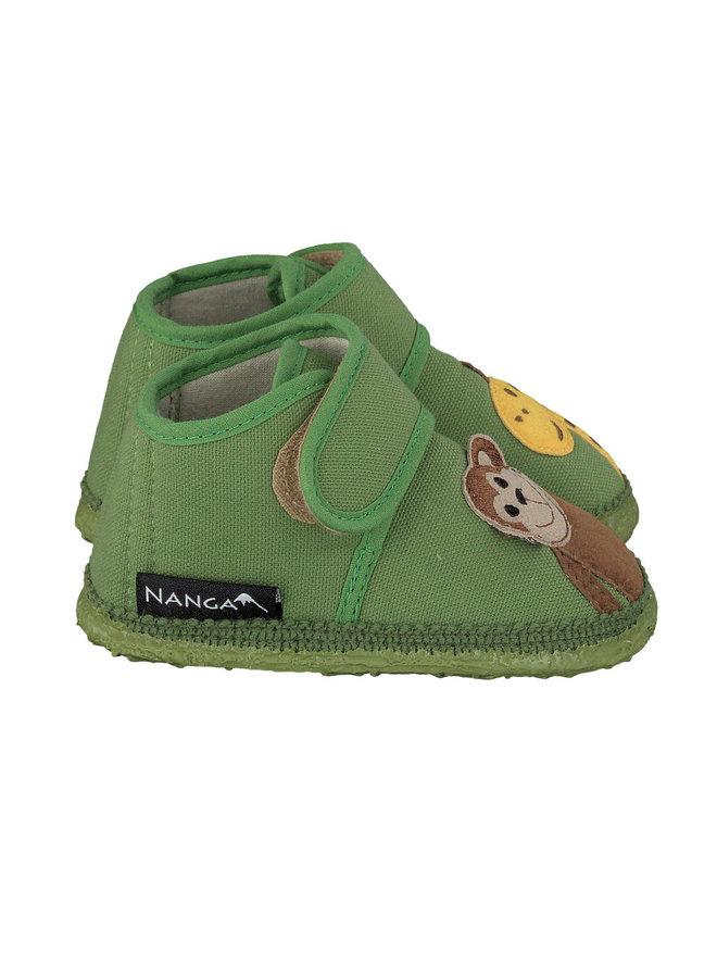 NANGA Hüttenschuhe Affe und Giraffe grün