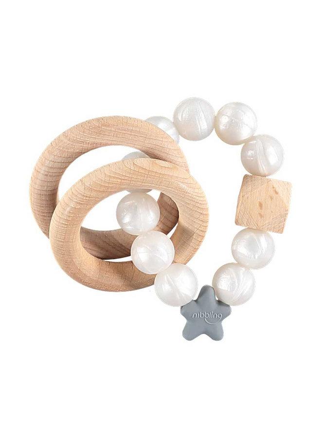 Perlen Stern BPA-frei weiß pearl NIBBLING Schnullerkette Stellar Silikon
