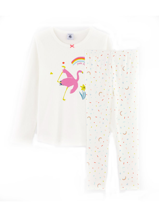 Petit Bateau Pyjama Flamingo creme rosa