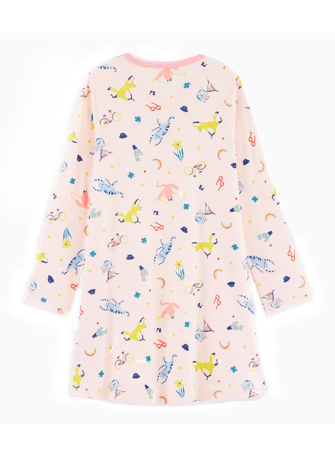 Petit Bateau Nachthemd rosa mit lustigem Tierprint