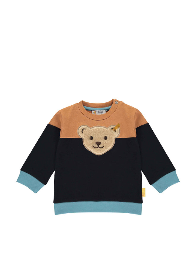 Steiff Baby Sweatshirt mustard blau mit Teddy-Applikation