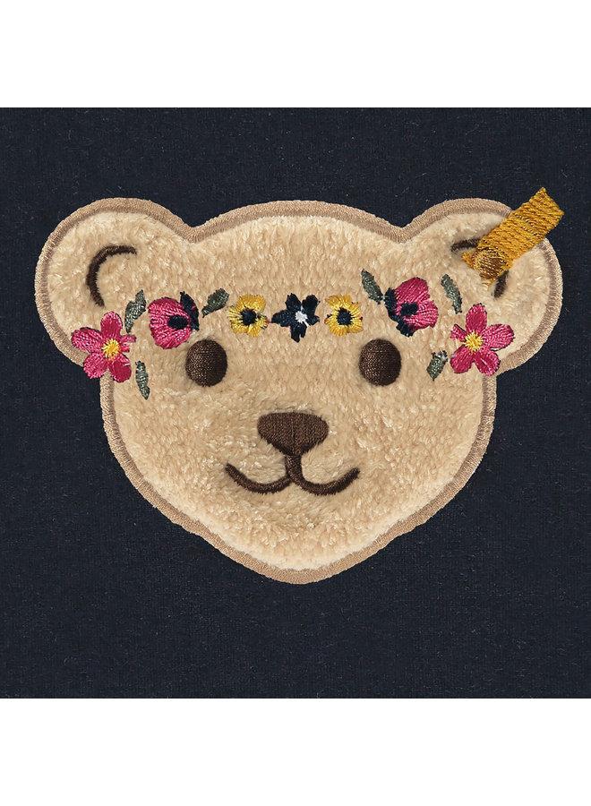 Steiff Baby Sweatshirt blau mit Teddy-Applikation Flower Power