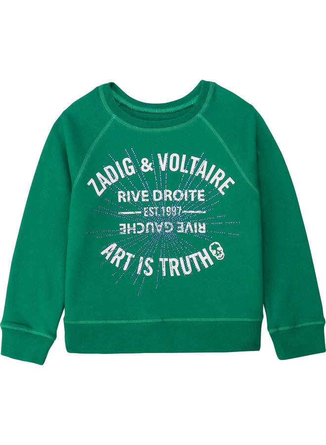 Zadig & Voltaire Sweatshirt dunkelgrün mit Strass
