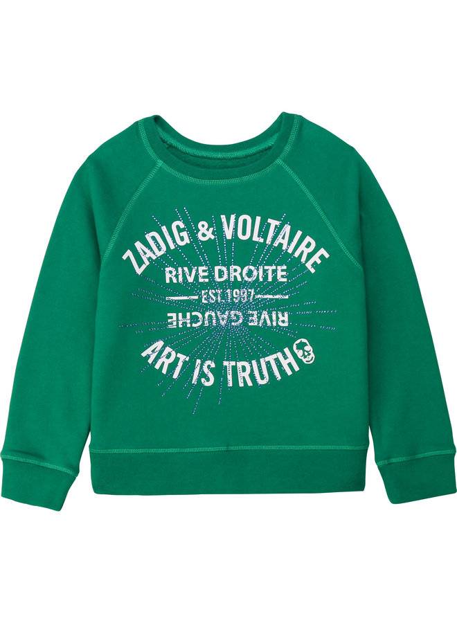 Zadig & Voltaire Sweatshirt dunkelgrün mit Markenstempel