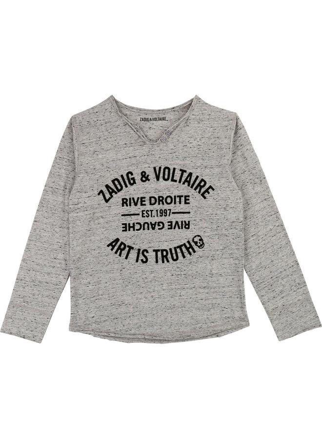 Zadig & Voltaire Longsleeve greymelange mit Markenstempel