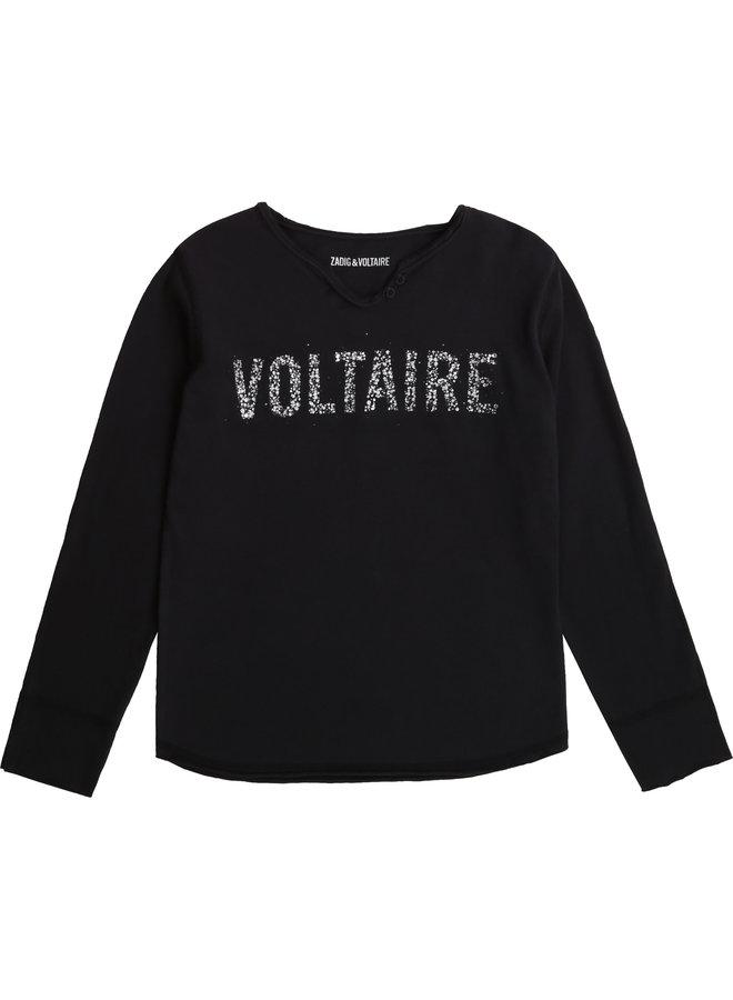 Zadig & Voltaire Longsleeve schwarz mit Glitzer Logo