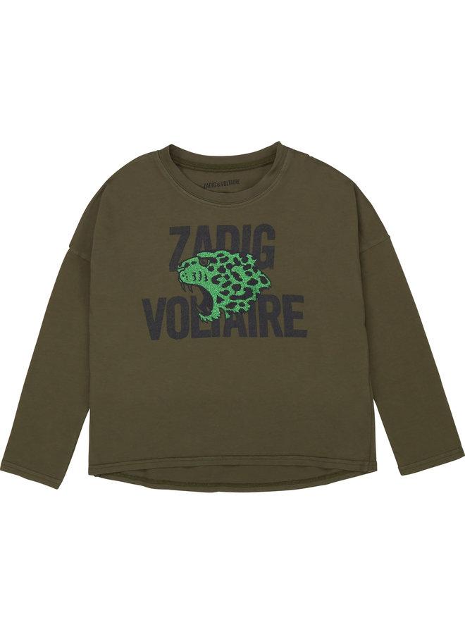 Zadig & Voltaire Longsleeve schwarz mit Glitzer Leopard khaki