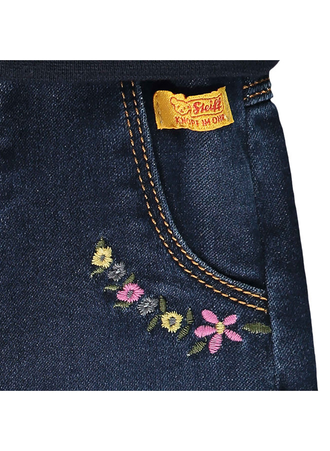 Steiff Baby Jeanshose Jeans mit Blumenstitching