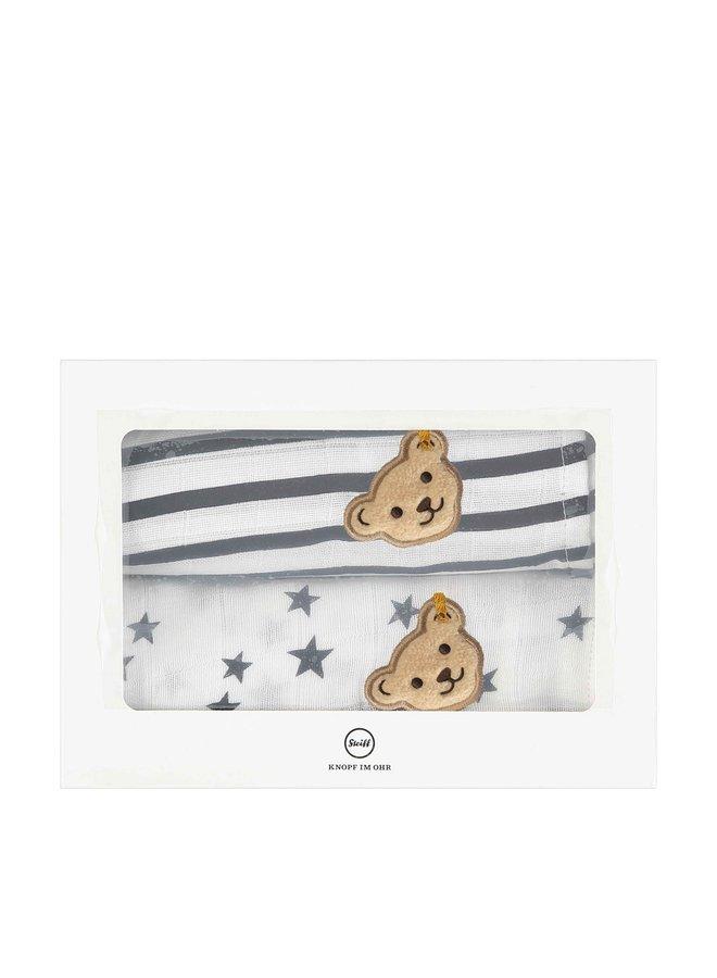 Steiff 2er pack Tücher Spucktücher Mulltücher Teddy Streifen Sterne