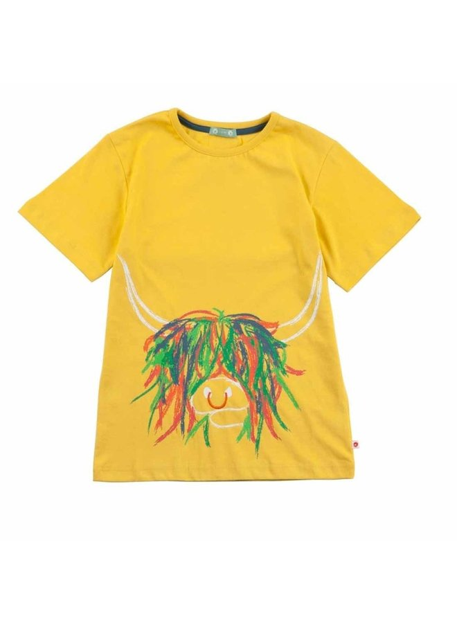 Piccalillly T-Shirt Highland Kuh gelb