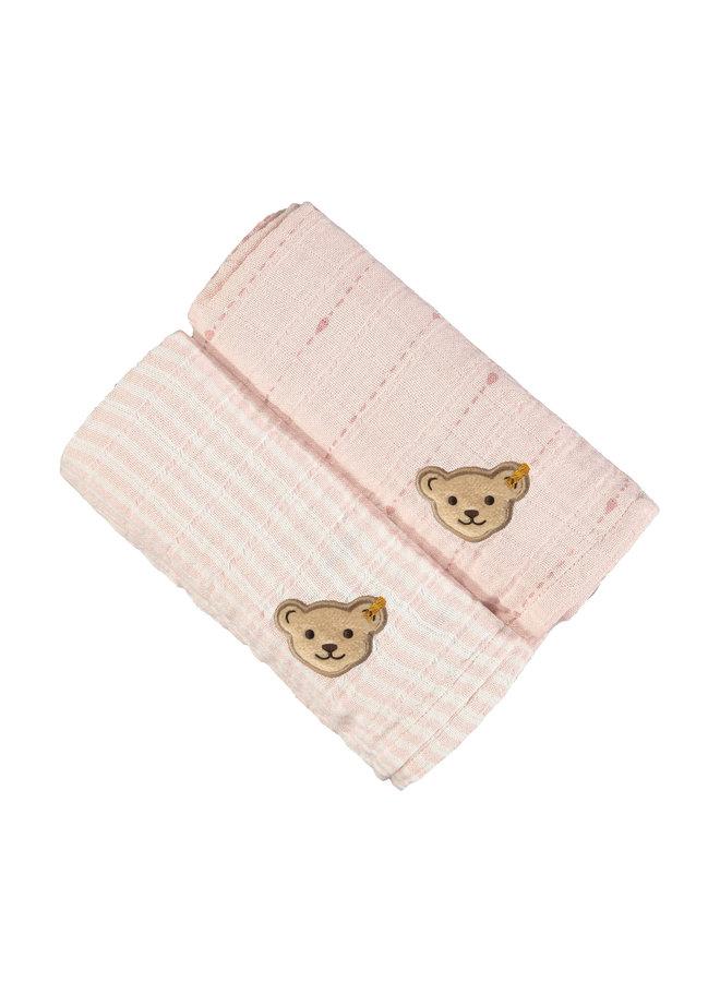 Steiff 2er pack Mulltücher Teddy rosa Streifen