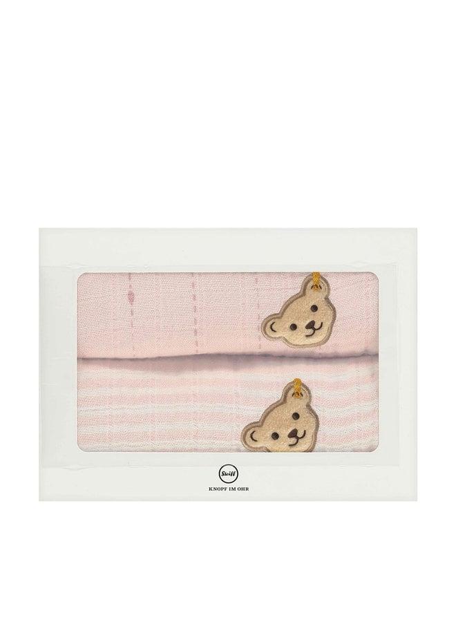 Steiff 2er pack Tücher Spucktücher Mulltücher Teddy rosa Streifen Bio Baumwolle