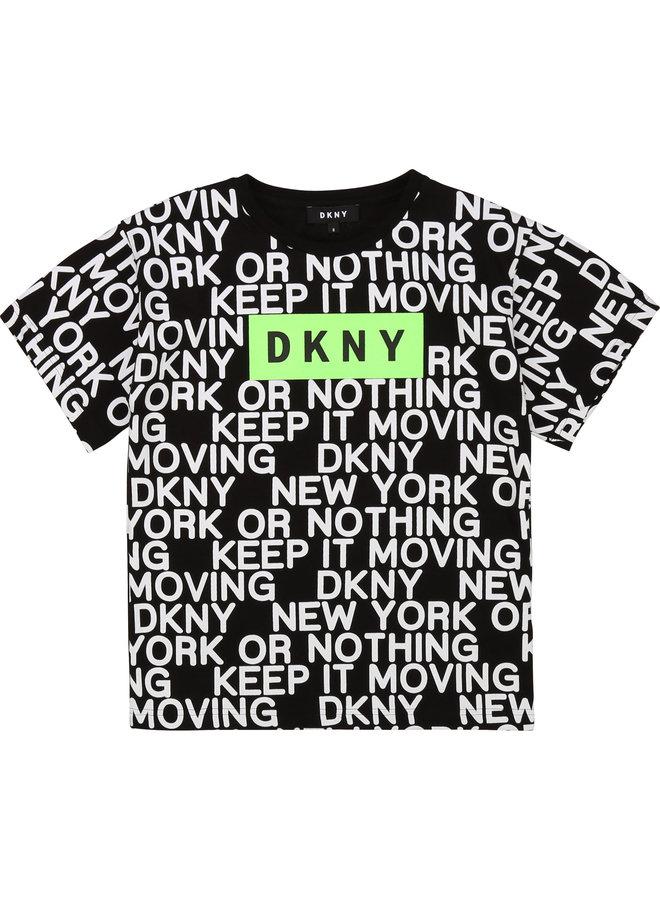 DKNY KIDS T-Shirt schwarz weiß kariert mit allover Logo