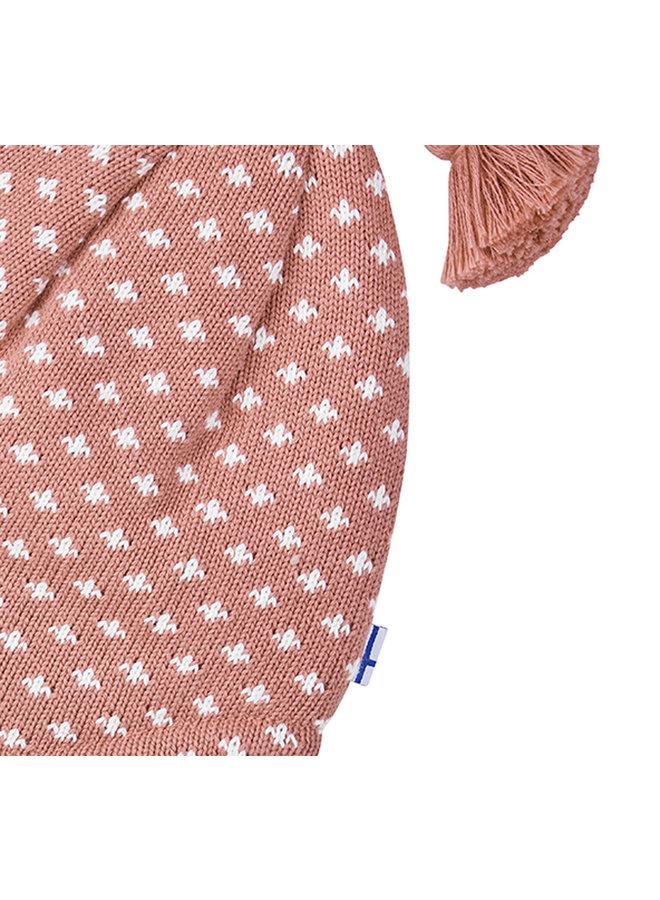 Finkid Zipfel Strickmütze TIPSA rosa weiß aus Baumwollstrick