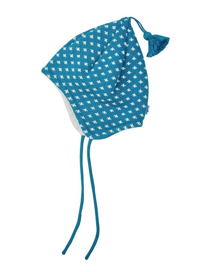Finkid Zipfel Strickmütze TIPSA seaport  blau weiß aus Baumwollstrick