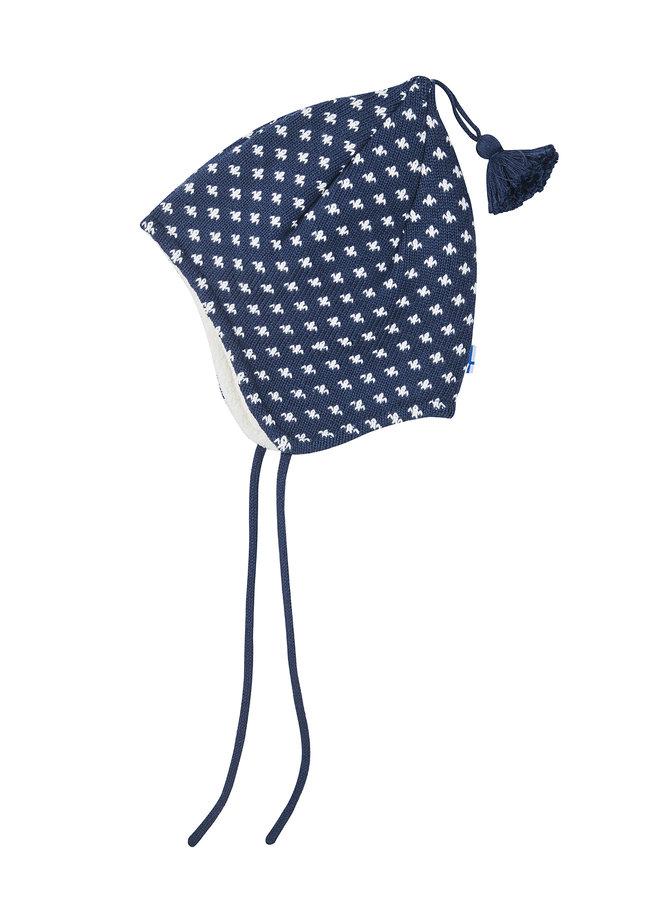 Finkid Zipfel Strickmütze TIPSA navy blau weiß aus Baumwollstrick