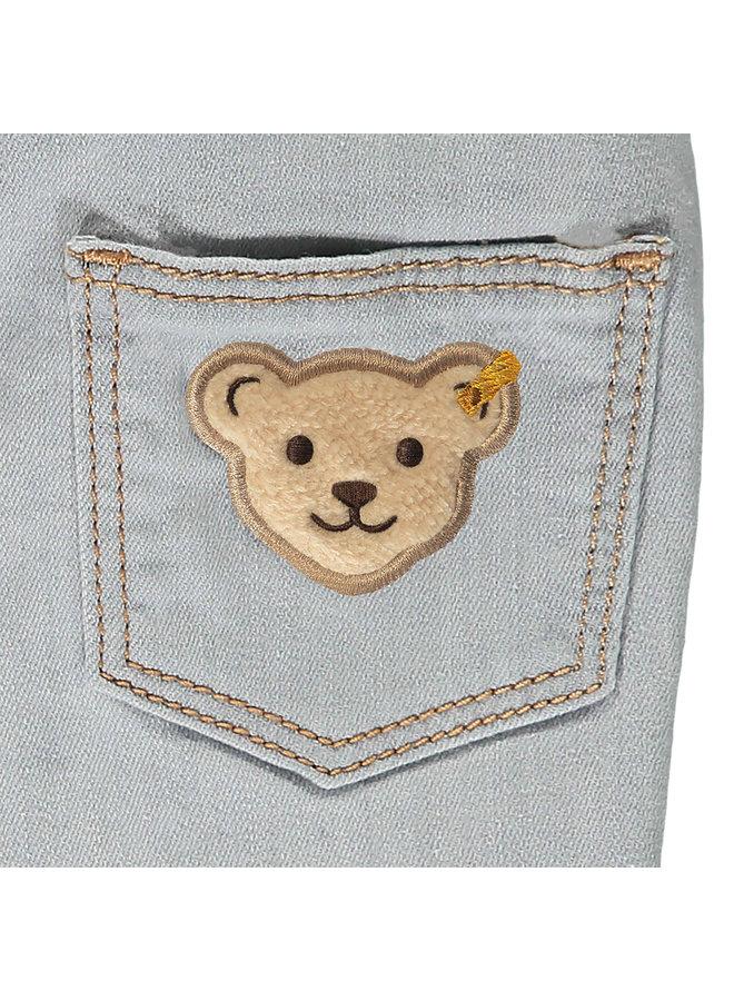 Steiff Baby Jeanshose Jeans mit hellgrau mit Logo-Bund