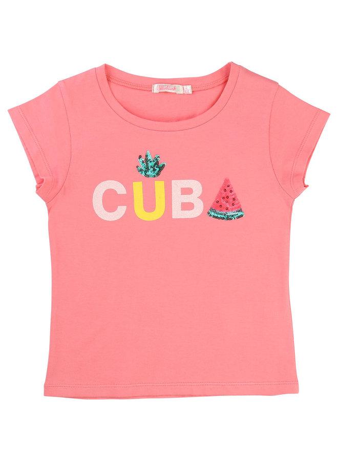 Billieblush T-Shirt Cuba pink Pailletten