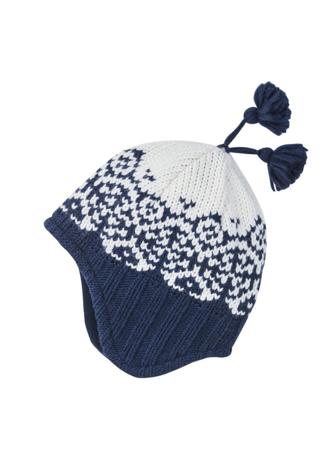 Finkid Zipfel Strickmütze PEPPI navy blau weiß Grobstrick